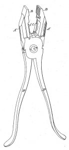 Pliers drawing #1 from Patent No. 335,694 Thomas G. Hall February 9, 1886